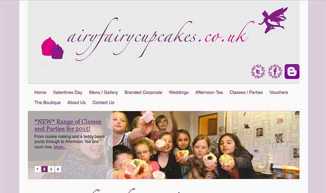 Screenshot of the Airy Fairy Cake Boutique website on a Desktop computer