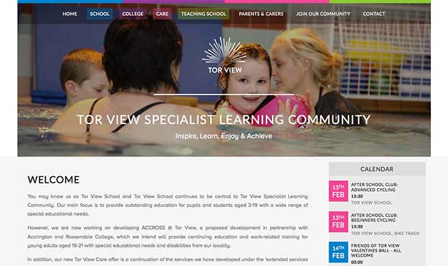 Screenshot of the Tor View School website on a Desktop computer