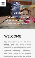 Screenshot of the Tor View School website on a mobile device