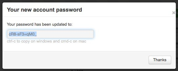 New password details