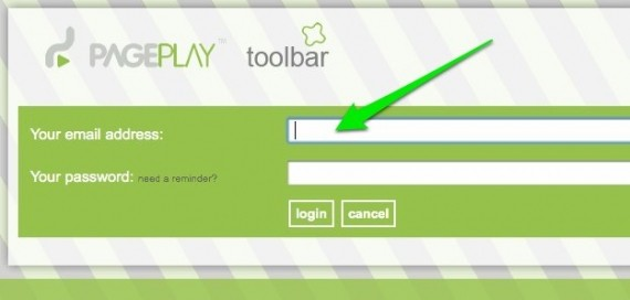 PagePlay login form